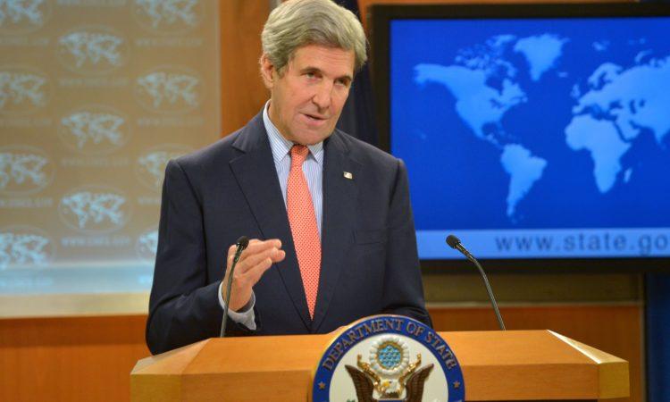 Госсекретарь Керри выступает на пресс-конференции