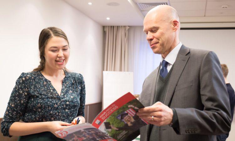 "Consul General Marcus Micheli and American University in Bulgaria Representative in Russia Alexandra Donina at the ""EducationUSA Winter Tour 2017"" event in Yekaterinburg"