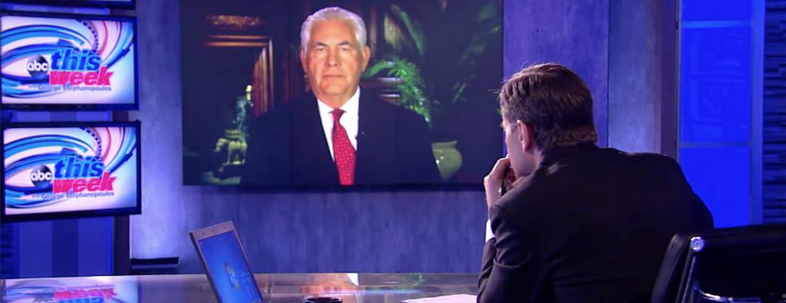 "Интервью госсекретаря США Тиллерсона ведущему ""This Week"" канала ABC Джорджу Стефанопулосу"