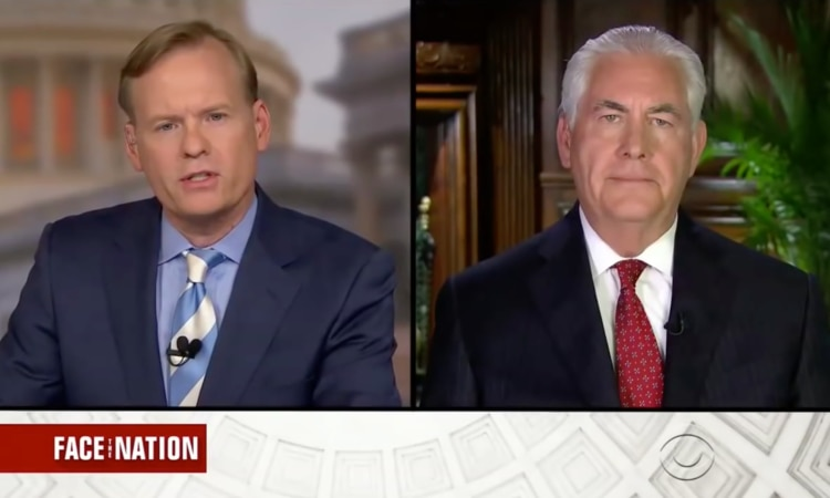 "Интервью Госсекретаря США Тиллерсона ведущему передачи ""Face the Nation"" телеканала CBS Джону Дикерсону"