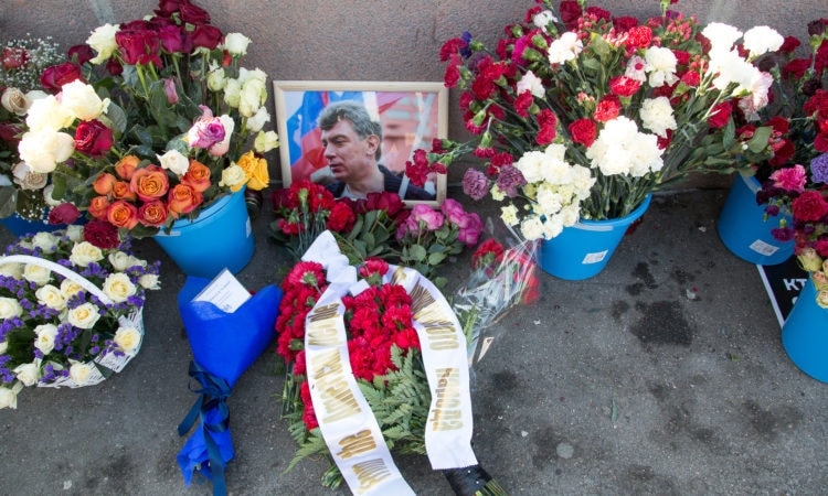Flowers at the Bolshoy Moskvoretsky Bridge in Moscow where Russian opposition leader Boris Nemtsov was killed in 2015.