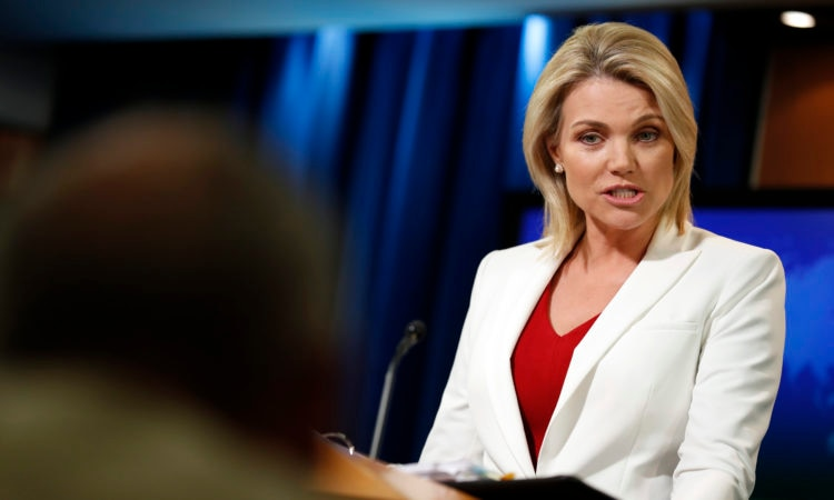 "State Department spokeswoman Heather Nauert speaks during a briefing at the State Department in Washington, Wednesday, Aug. 9, 2017. The State Department says President Donald Trump is ""on the same page"" with the rest of U.S. government with his fiery threat to North Korea. Nauert said the White House, State Department and Pentagon are all in agreement. She says the world, too, is speaking with once voice. (AP Photo/Alex Brandon)"