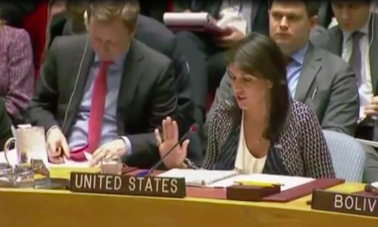 Ambassador Haley delivers remarks at an Emergency UN Security Council Meeting on Unilateral Action in Response to Syria's Chemical Weapons Use